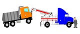 heavy duty tow truck towing dump truck with driver