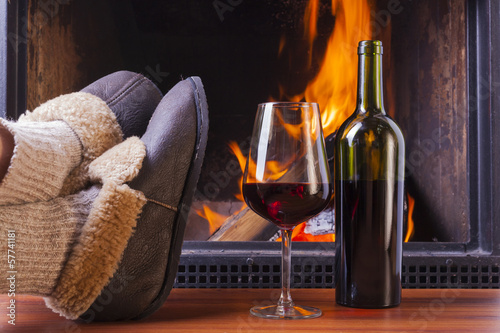 drinks at fireplace on winter evening