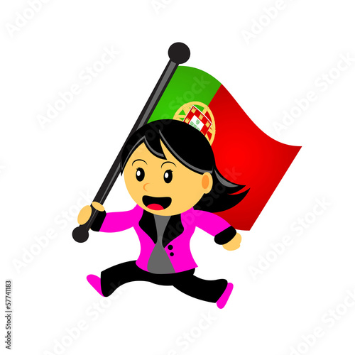 cartoon woman bring flag