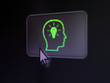 Business concept: Head With Lightbulb on digital button