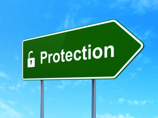 Protection concept: Protection and Opened Padlock on road sign
