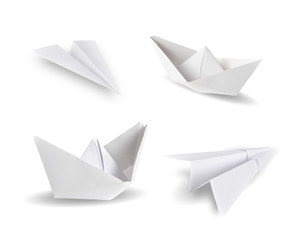 Paper airplanes and paper ship isolated on white