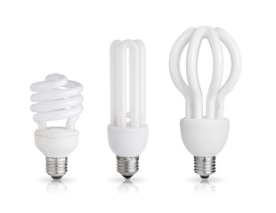 three energy saving light bulb isolated on white background