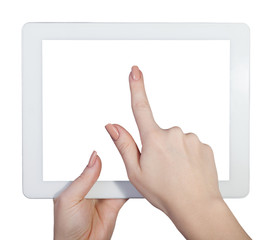 tablet in female hands on an isolated