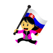 cartoon woman bring flag