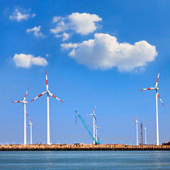 Cargo sea port. Wind turbines.