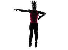 African człowiek wykonywania biznesowe sylwetka taniec zumba