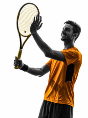 man tennis player portrait applauding silhouette