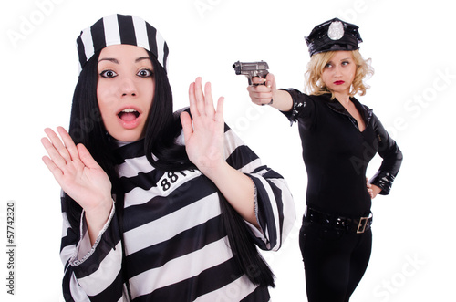 Prisoner and police isolated on the white