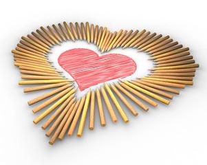 Matite colorate a forma di cuore,  cuore disegno schizzo