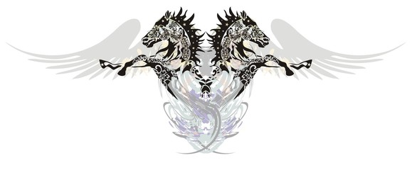 Two horses with wings  in a jump