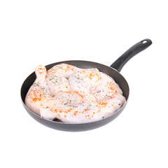 Raw chicken with spice on pan