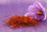 Fototapety Dried saffron spice and Saffron flower
