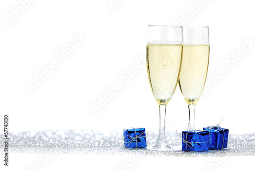 Champagne glasses and gifts