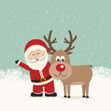 santa claus and reindeer snowy background