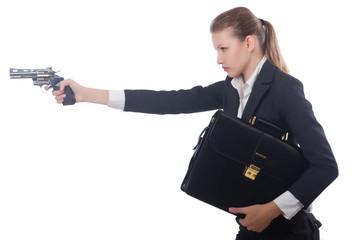Woman businesswoman with gun on white