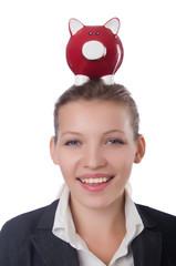 Woman businesswoman with piggybank on white