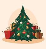 Fototapety Traditional Christmas tree. Cartoon vector illustration.