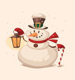 Snowman character. Cartoon vector illustration.