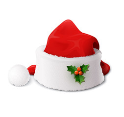 Santa Claus hat. Vector illustration isolated on white