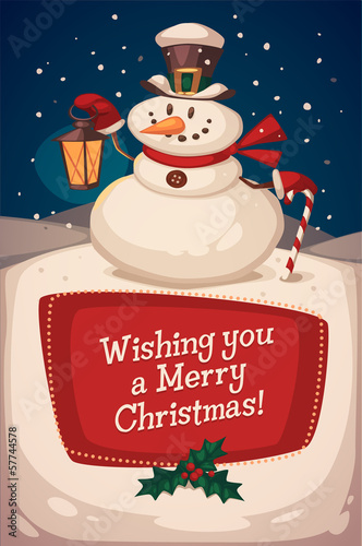 Snowman with candy. Christmas greeting card.