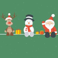 Christmas Background Rudolph Santa Snowman Green
