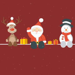 Christmas Background with Santa Claus Rudolph and Snowman
