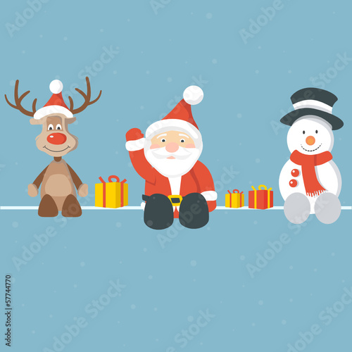 Christmas Background blue Santa Rudolph Snowman