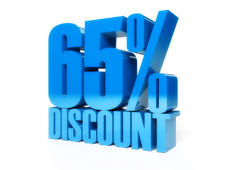 65 percent discount. Blue shiny text. Concept 3D illustration.