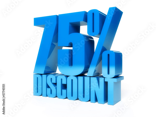 75 percent discount. Blue shiny text. Concept 3D illustration.