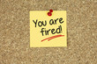 You are fired. Cork board