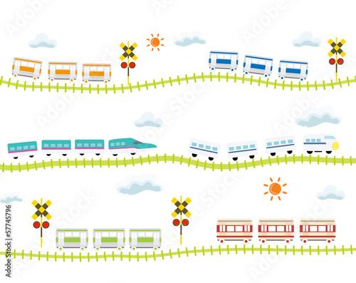 子供向け 可愛い 踏切のある線路を走る 電車