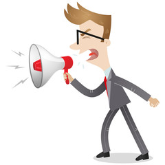 Businessman, megaphone, screaming, shouting