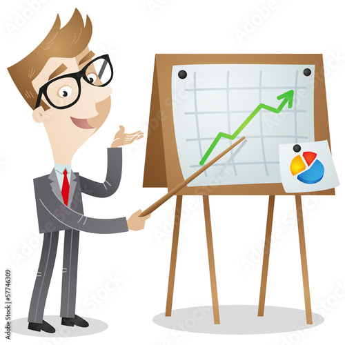 Businessman, presenting growing graph, statistics