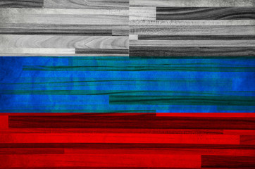 Russian flag on a parquet background