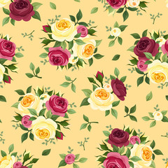 Seamless pattern with red and yellow roses. Vector illustration.