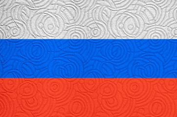 Russian flag on wall background