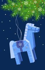 Лошадь- синяя деревянная висит на елке.Векторная иллюстрация