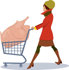 Woman with a turkey in a cart grocery shoping for holidays