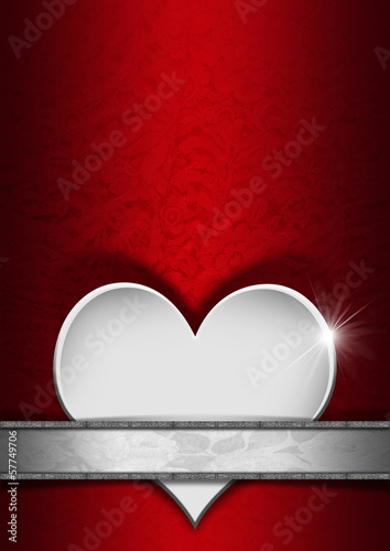 Romantic Floral Red and Silver Background