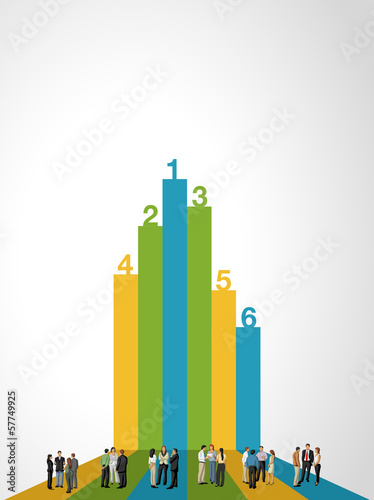 Template for brochure with business people on bar chart