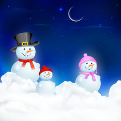 Snowman Family in Christmas Night