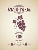 Fototapety wine vintage grapes label background