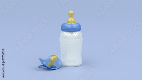 Baby milk bottle and pacifier