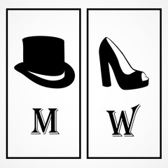 WC Shoes And Black Hat Icons -  Isolated On White