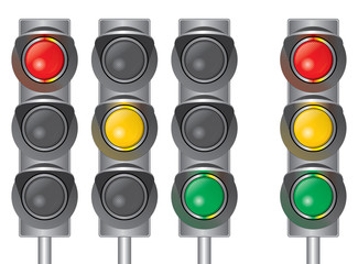 Traffic lights. Red, yellow, green.