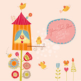 Fototapety Floral background with birds