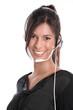 Junge Frau mit Headset im Callcenter - isoliert und lachend