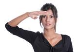Frau isoliert blickt in ihre Zukunft - Beruflich erfolgreich