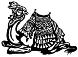 lying camel with saddle black white